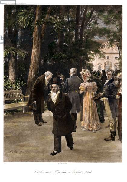 Ludwig van Beethoven and Johann Wolfgang von Goethe in Teplitz in 1811 (colour litho)