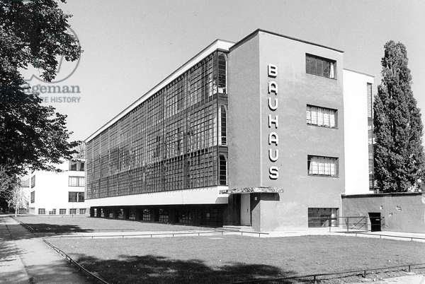 View of the Bauhaus Dessau, Germany, 1998 (b/w photo)