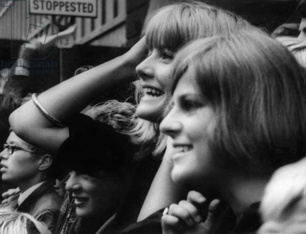 Beatles fans in Copenhagen, 1964 (b/w photo)