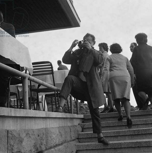 Photographer in Bulgaria, 1967 (b/w photo)