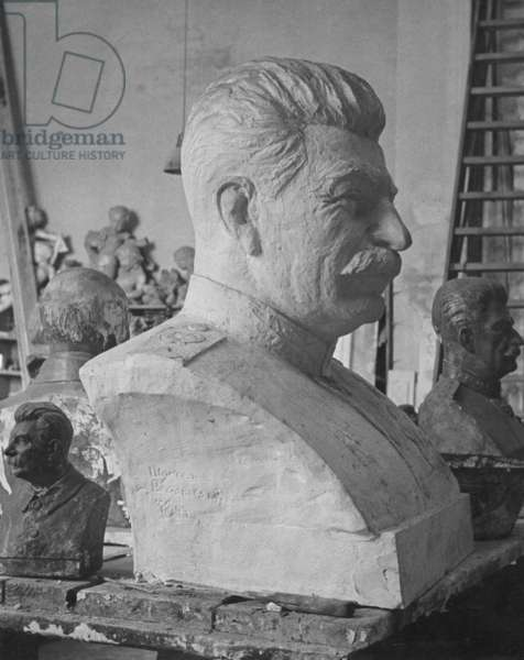 Bust of Stalin in Moscow, 1955 (b/w photo)