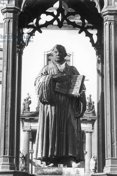 Monument to Martin Luther by Johann Gottfried Schadow in the market square of Wittenberg, Germany, 1997 (b/w photo)