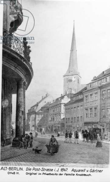 Poststrasse and Nikolai Church in Berlin, 1847