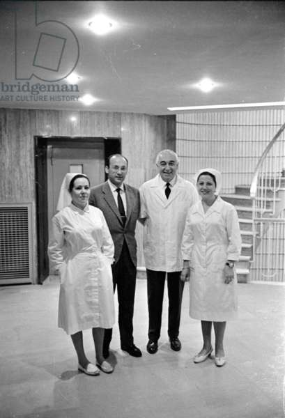 Doctors and nurses in a hospital in Madrid, 1963 (b/w photo)