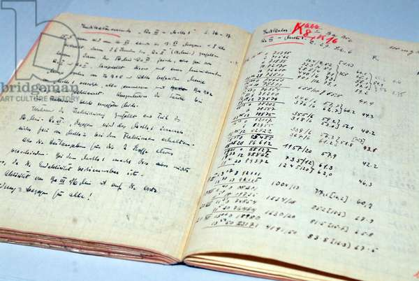 Open lab book of German chemist Otto Hahn (photo)