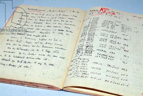 Open lab book of German chemist Otto Hahn (photo)