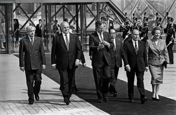 G7 summit in Paris on 14th July, 1989 (b/w photo)