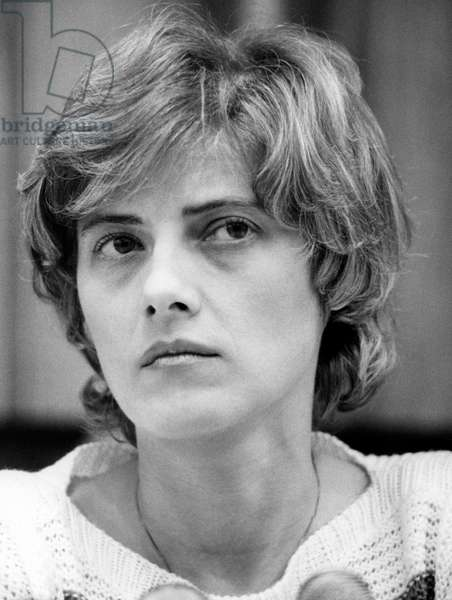 Petra Kelly, founding member of the German Green Party in 1979, 1983 (b/w photo)