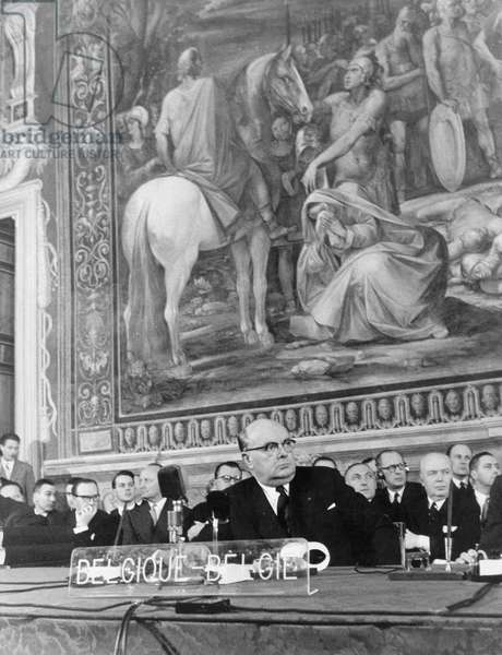 Paul Henri Spaak at the signing of the 'Treaty of Rome', 1957 (b/w photo)
