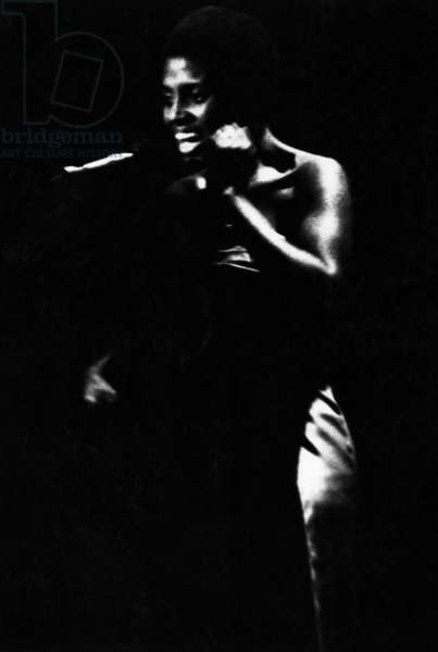 The African singer Miriam Makeba performing at the 'Tivoli' in Copenhagen. (b/w photo)