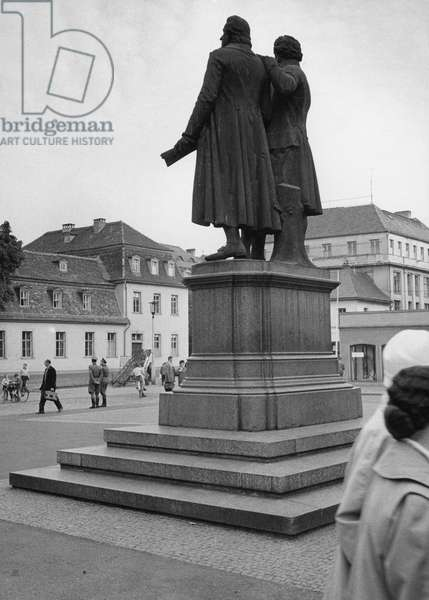 View of the Goethe–Schiller Monument, Weimar, Germany, 1959 (b/w photo)