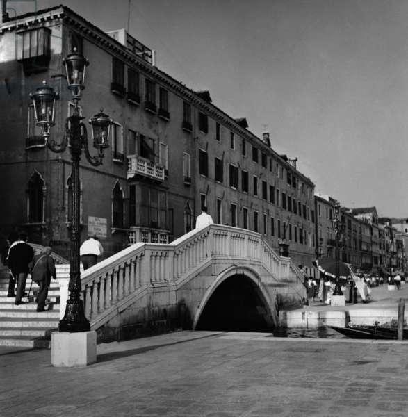 Bridge in Venice, 1961 (b/w photo)