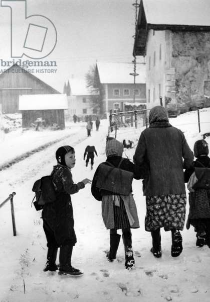 Children in the Bavarian Forest  (b/w photo)