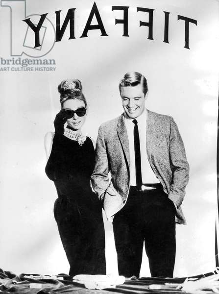 Audrey Hepburn and George Peppard in 'Breakfast at Tiffany's, 1960 (b/w photo)