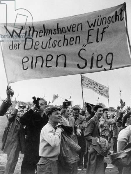 Fans at the 1958 FIFA World Cup (b/w photo)