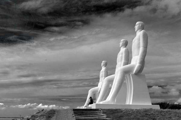 Svend Wiig Hansen's monumental sculpture 'The Men at Sea' on the beach of Esbjerg, Denmark, 30th August 2015 (b/w photo)
