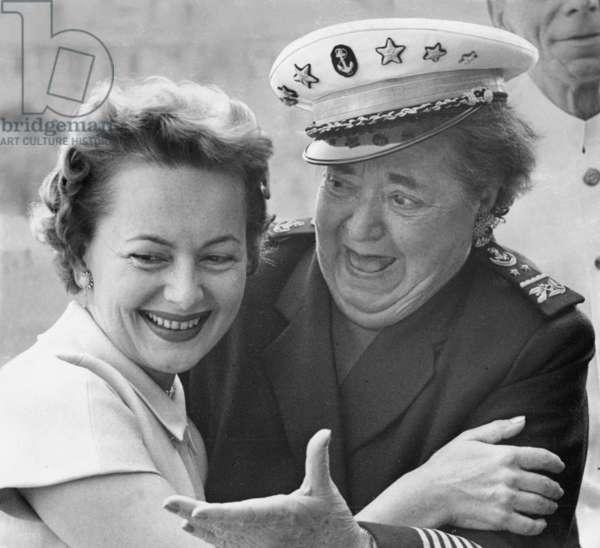 Elsa Maxwell and Olivia de Havilland, 1955 (b/w photo)