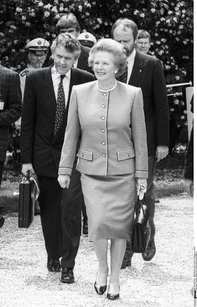 Margaret Thatcher, 1988 (b/w photo)
