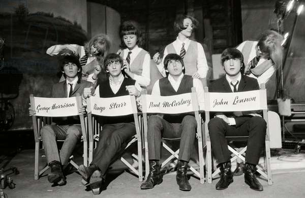 The Beatles during the 'Hard Day's Night' promotion camaign, 1964 (b/w photo)