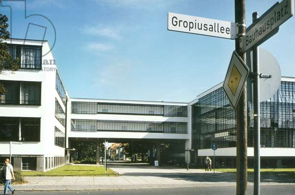 View of the Bauhaus Dessau, Germany, 1998 (photo)