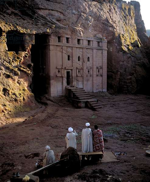 View of the 13th century rock-cut Bet Abba Libanos church, also called Abba Mata, at Lalibela in the highlands of Wello, Ethiopia, 1998 (photo)