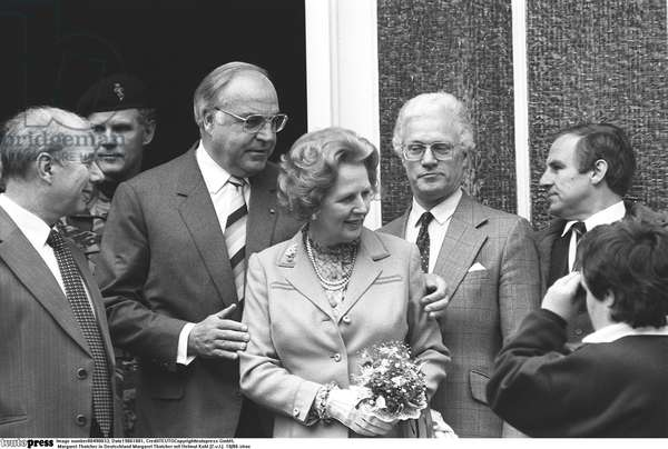 Margaret Thatcher with Helmut Kohl, 1986 (b/w photo)