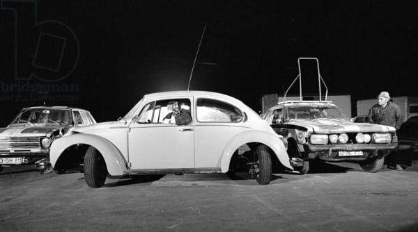 """Shooting of the film """"Dudu"""", 1974 (b/w photo)"""