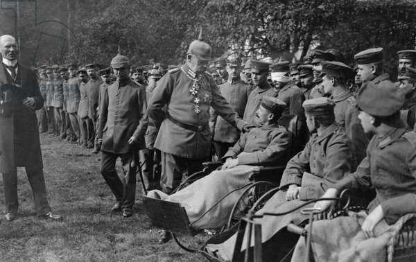 Paul von Hindenburg Visits Wounded Soldiers during World War I (b/w photo)