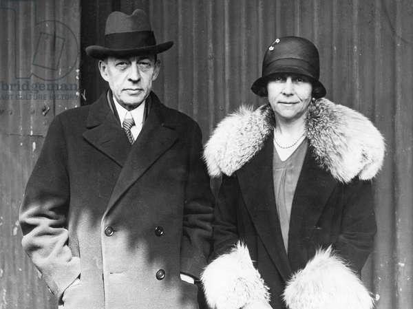Sergei Rachmaninoff with his wife, 1928 (b/w photo)