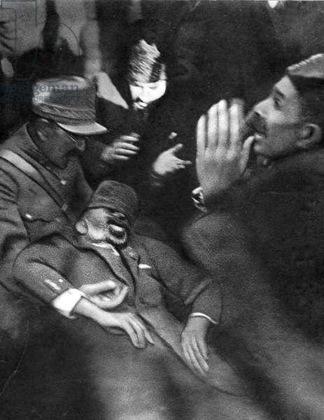 Murder of Afghan King Nadir Shah, Kabul, Afghanistan, 1933 (b/w photo)