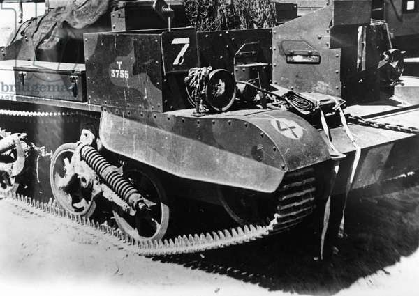 Abandoned Universal Carrier at Dunkirk, 1940 (b/w photo)