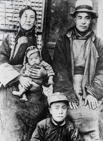 The parents of the 14th Dalai Lama, 1940 (b/w photo)