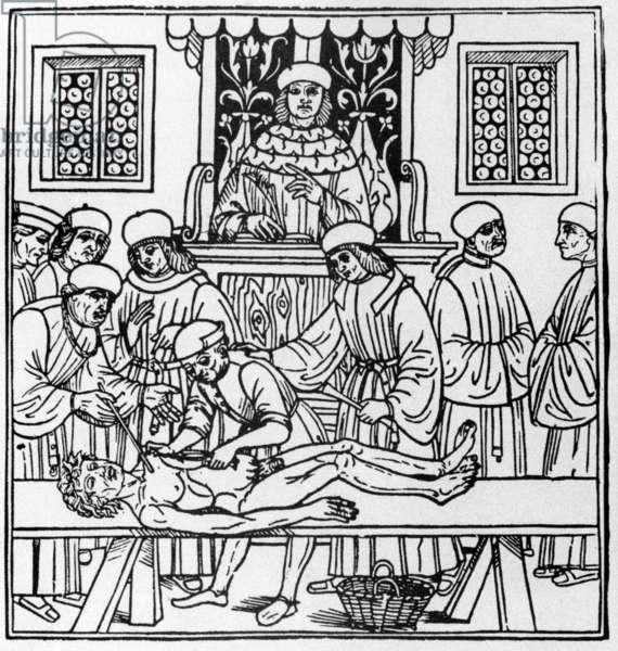 Anatomy class, 14th century