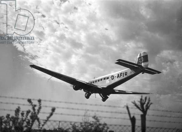 A Junkers JU 52 Plane, 1935 (b/w photo)