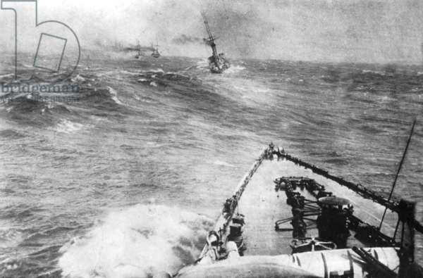 German warships during the Battle of the Falkland Islands, 1914 (b/w photo)