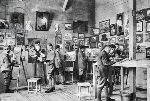 Italian prisoners of war in an artist's studio, 1918 (b/w photo)