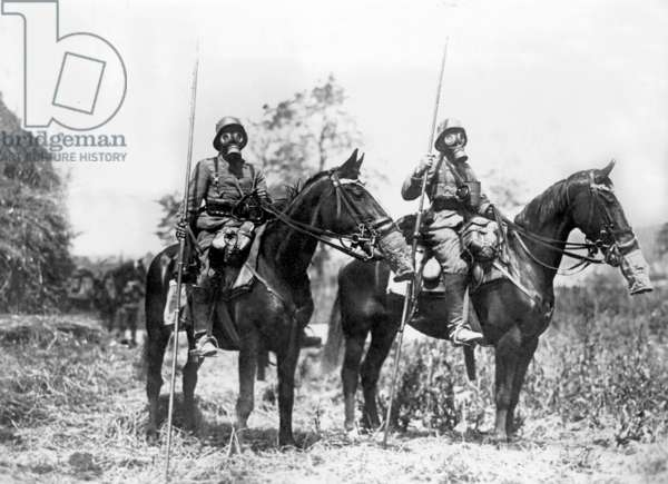 Cavalry Patrol with gas protection at the western front, 1918 (b/w photo)