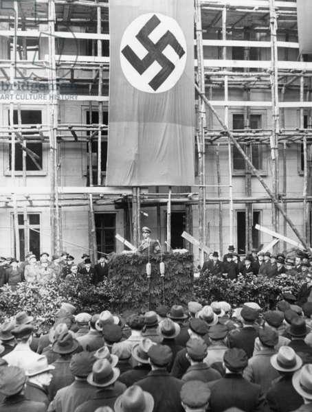 Joseph Goebbels speaking in  the Ministry of Propaganda, 1938