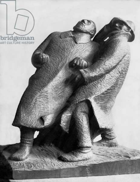 Work by Ernst Barlach (b/w photo)