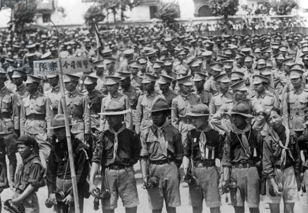 Chinese troops in Manchuria (b/w photo)