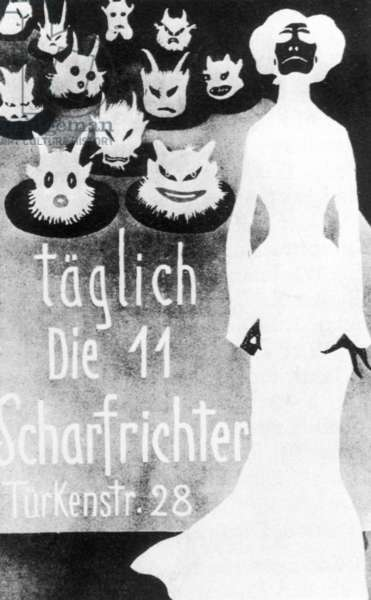 Poster advertisement for the artist tavern 'Simplizissimus' in Munich (b/w photo)