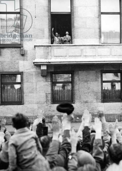 Mussolini with Hitler on the balcony of the Reich Chancellery, Berlin (b/w photo)