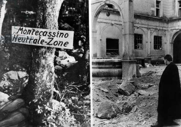 Destruction of the monastery of Monte Cassino, 1944 (b/w photo)