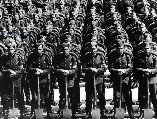 March of the RAD at the Nuremberg Rally, 1937 (b/w photo)