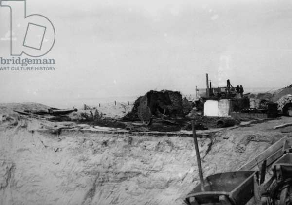 Construction of a German coastal fortification on the Atlantic Wall, 1943 (b/w photo)