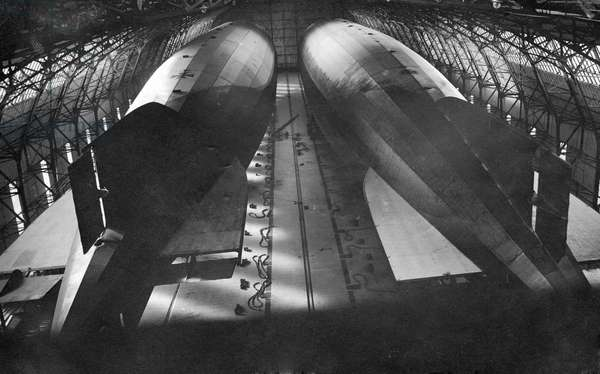 Zeppelins in an airship station (b/w photo)