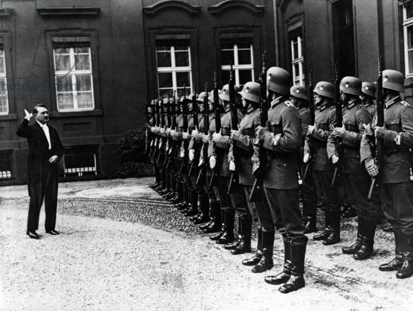 Adolf Hitler at a diplomatic reception, 1935 (b/w photo)