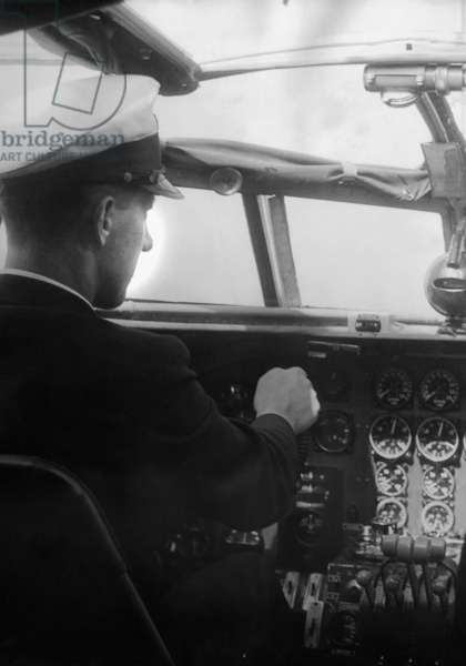 Siegfried Graf von Schack in the cockpit of a Few 200 'Condor' by Focke-Wulf, 1938 (b/w photo)