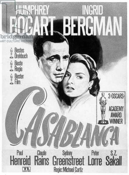 Poster for the film Casablanca with Humphrey Bogart and Ingrid Bergman in 1942 (b/w photo)