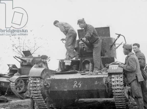 Russian tanks in the Spanish Civil War, 1936 (b/w photo)